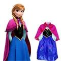 Varejo novas meninas 2017 vestido Elsa & Anna vestido de princesa meninas vestido de aniversário vestido de moda Europeus e Americanos das crianças