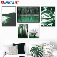 Green Sea Forest Plants Tree Sky Leaf Wall Art Canvas Painting Nordic Posters And Prints Pictures For Living Room Decor