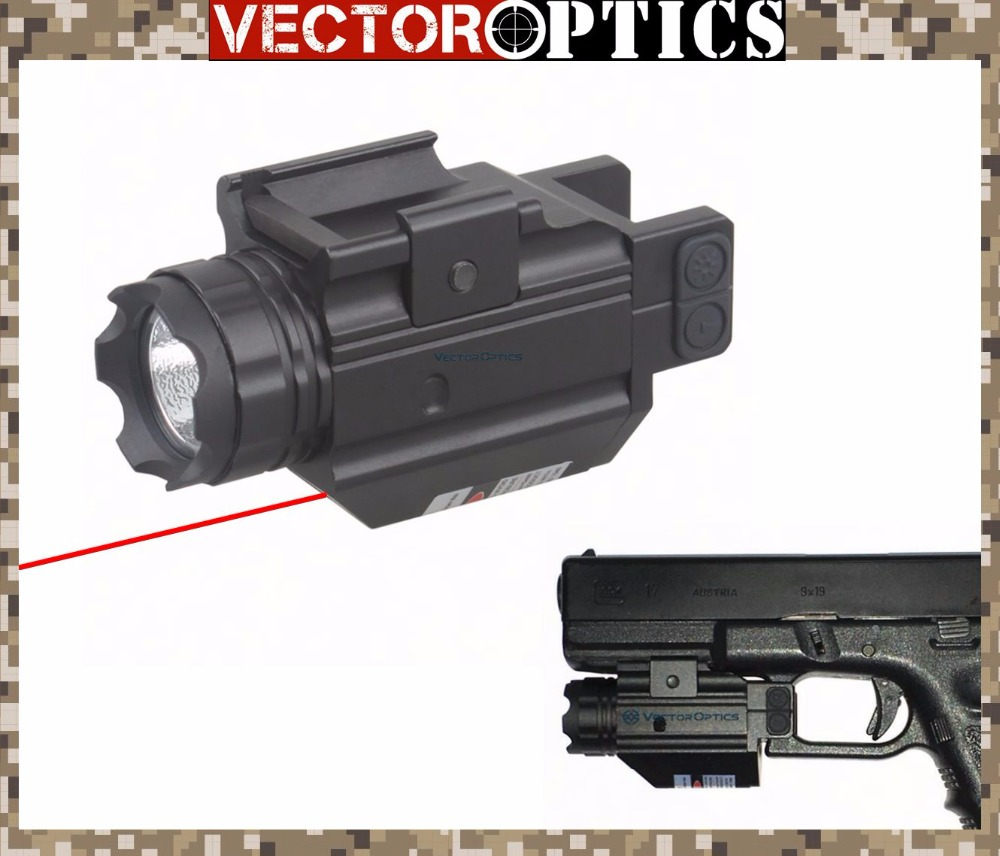 Vector Optics Tactical Pistol 200 Lumens Flashlight with Red Laser Sight Combo for Glock 17 19 Smith & Wesson Weapon Light vector optics sphinx red dot sight with pistol rear mount for glock 17 19 sig sauer beretta springfield xd s