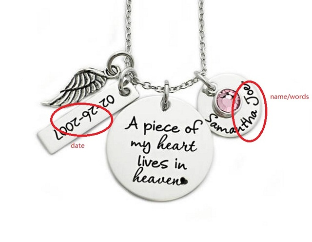 Personalized memorial necklace name or words a piece of my heart personalized memorial necklace name or words a piece of my heart lives in heaven miscarriage remembrance aloadofball Images