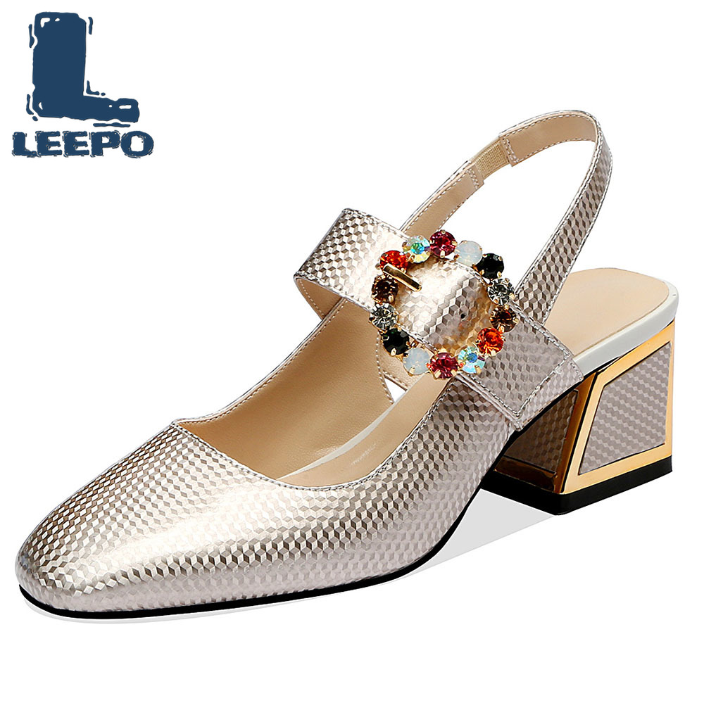 LEEPO High Heels Shoes Women Handmade Luxury Designers Block Heels Ladies Silver Shiny Slingbacks Office Pumps