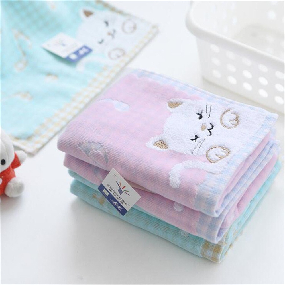 1pcs High Quality Comfortable Cotton Children Kids Towel Super Soft Kids Cute Kittens Strong Water Absorbing High End Towel