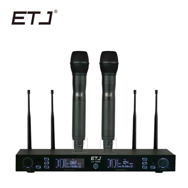 ETJ Brand True Diversity Professional UHF Wireless Mic Stage Performance Wireless Microphone System LX-8006