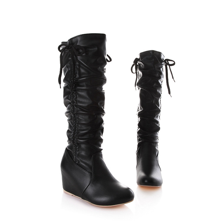 Big Size 34-43 Over The Knee Boots For Women Sexy High Heels Long Boots Winter Shoes Round Toe Platform Knight Boots 328 vamolasc new women autumn winter leather over the knee boots wedges high heel knight boots platform women shoes plus size 34 43