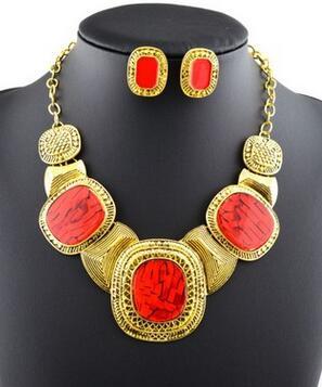 Jewelry-Sets Pendant Necklace Crystal-Suit Vintage Bohemia-Style Luxury Girls
