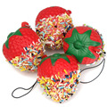 1PC Fashion Chocolate Strawberry Shaped Key Ring Fruit Cell Phone Charm Bag Keychain Pendant Decor