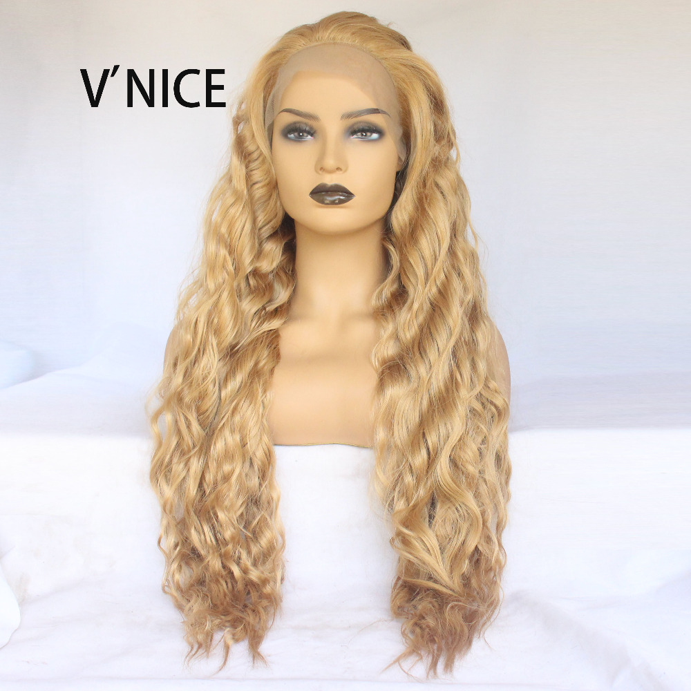 Honey Blonde Synthetic Lace Front Wig Loose Deep Wave Lace Wig High Temperature Fiber Middle Parting