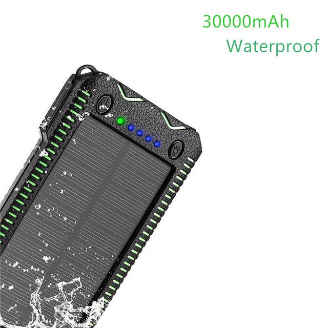 YoumiPower Carregador portátil 30000 mAh Solar Banco Power Pack Bateria Externa À Prova D' Água com Mais Poderoso para a chamada de telefone