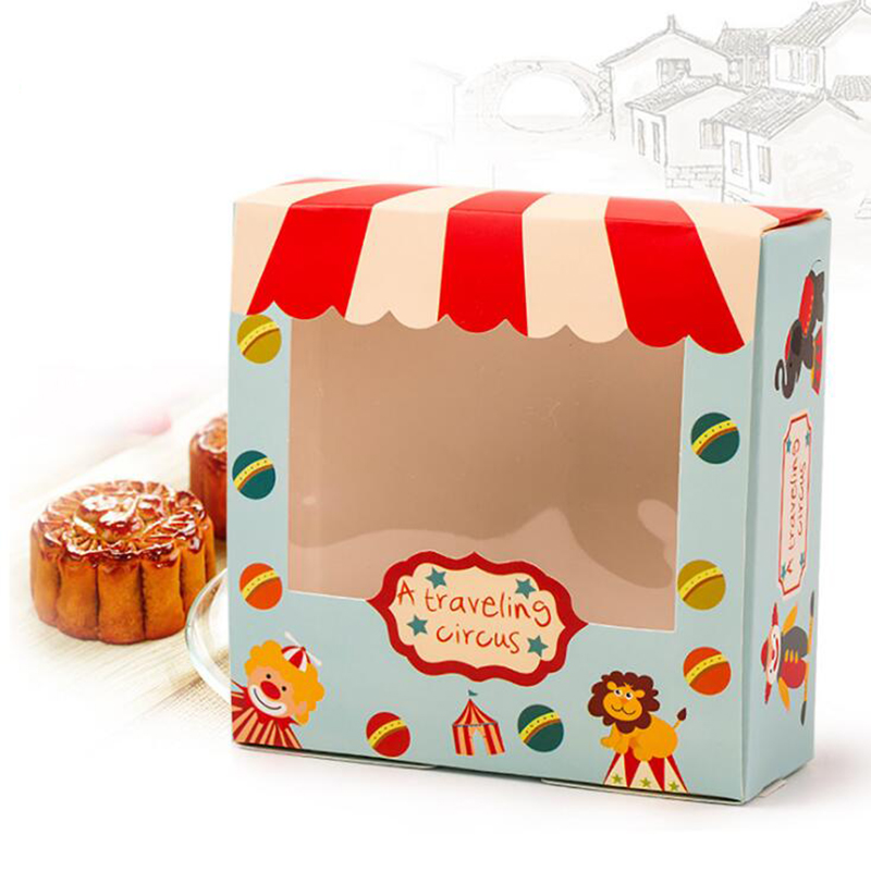 6 Pcs/lot Circus Theme Party Supplies Cartoon Cake Boxes 4 Cakes Can Put Kids Boy Birthday Party Supplies Gift Boxes