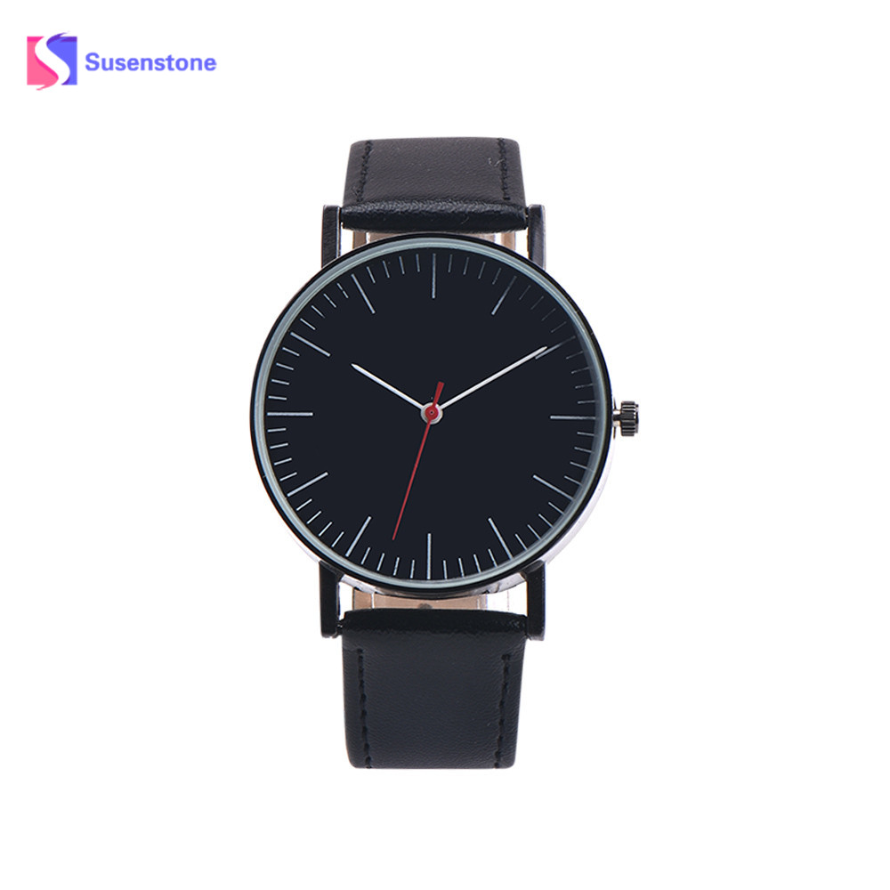 New Simple Style Design Men Watch Fashion Casual Elegant Analog Leather Band Analog Alloy Quartz Wrist Watch Relogio Masculino