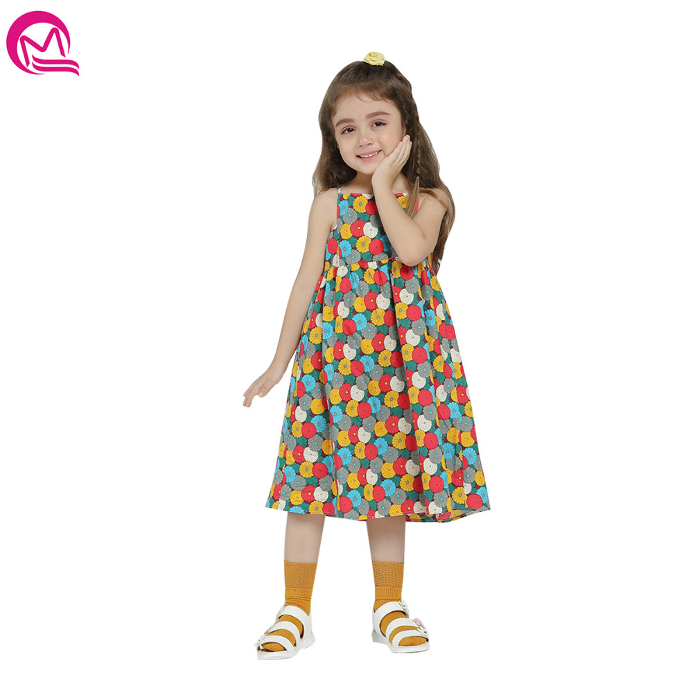 MIQI 2018 Spring Summer Cute Girls Dress Floral Print A-line Dresses Girl Clothes Casual Children Clothing for Girl 2-6 Years