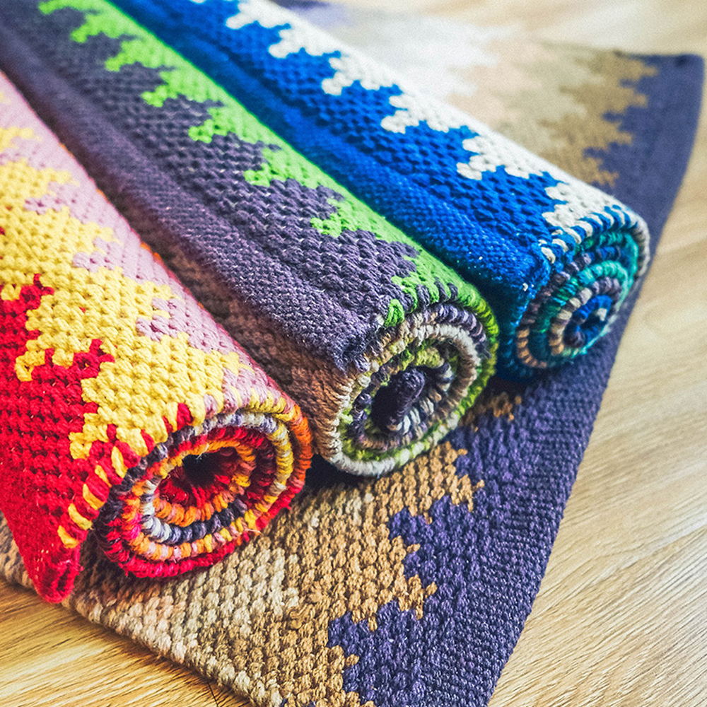 100% algodón hecho a mano rectángulo alfombras geométrica ondulación ...