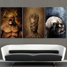 3 Piece HD Pictures Printed Ghost Horror Game Poster Wall Painting for Living Room Decor