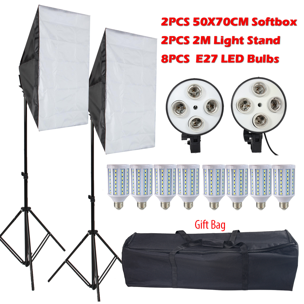 8PCS Lamps E27 LED Bulbs Photography Lighting Kit Photo Equipment 2PCS Softbox Lightbox+Light Stand For Photo Studio Diffuser