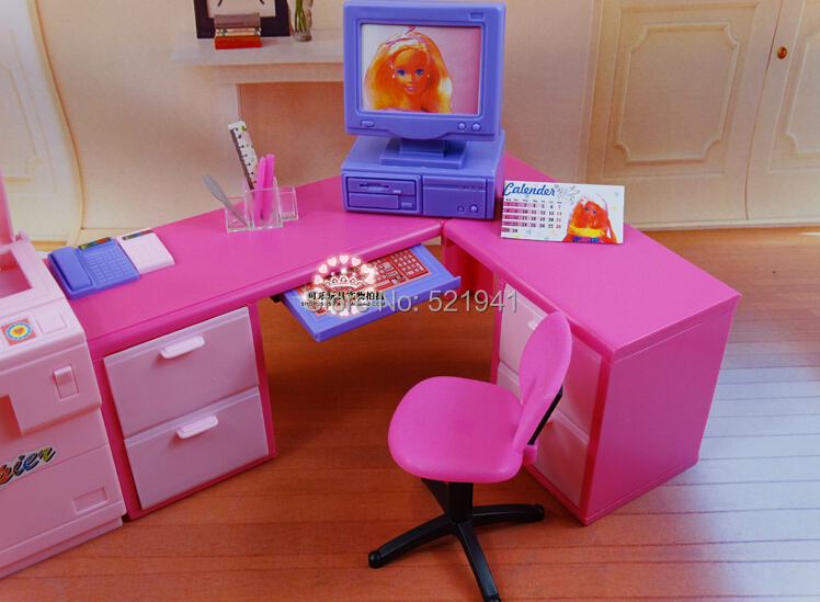 Free Shipping,girls Play House DIY Office Computer Desk Copier For Barbie  Doll,doll Furniture Doll Accessories For Barbie In Dolls Accessories From  Toys ...