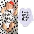 Bonitos Do Bebê Meninas Meninos Eu Fazer da Mamã Do Coração Completa Bodysuit Do Bebê Do Algodão Roupas Básicas Vestir Para 0-18 M