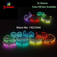 Hot sales 20pcs/pack EL Shutter shape Glasses EL Wire Glowing Party Glasses LED Light up Glasses for Event Party Supplies