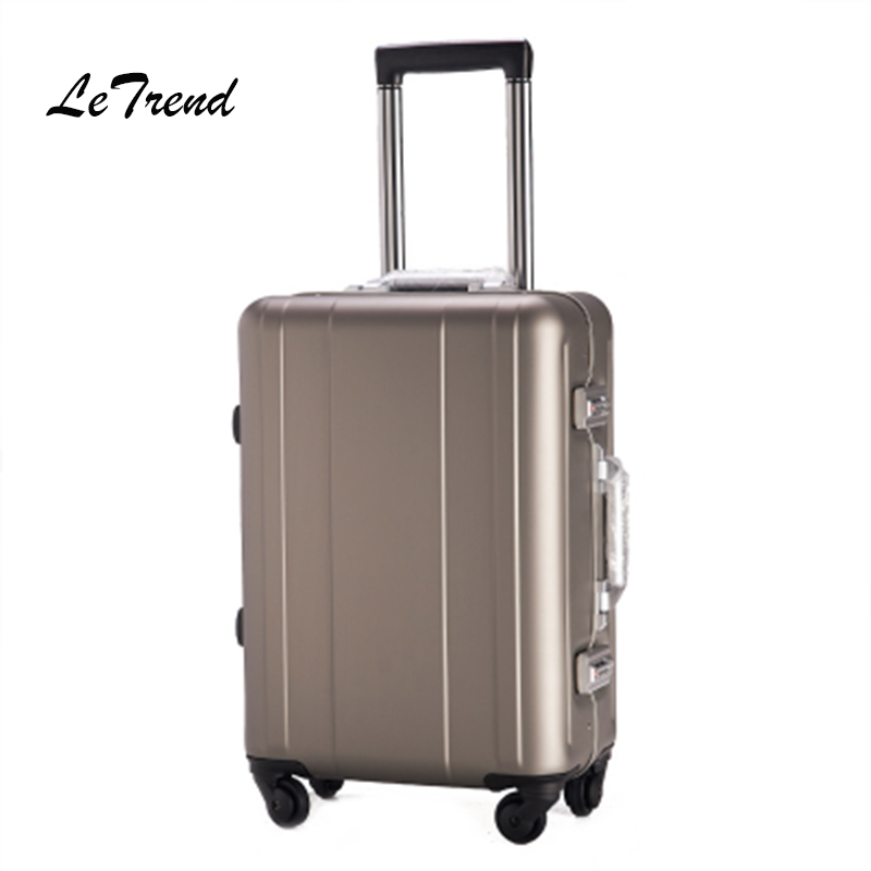 Letrend 100% Aluminum-magnesium alloy Rolling Luggage Spinner Suitcases Wheel 20 inch Men Business Carry On Trolley Travel Bag 20 25 29 aluminum magnesium alloy metal luggage fashion spinner rolling suitcase business aluminum frame luggage