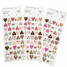 24 paczek/partia nowy 3D styl serca jakości naklejki pcv DIY wielofunkcyjne naklejki papiernicze mobilna etykieta hurtowa