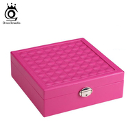 Women Jewelry Looking Glass Carrying Box Earrings Ring Necklace Bracelets Carrying Case with Mirror SO03