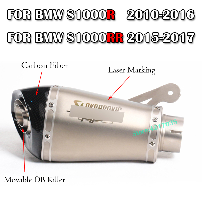 60MM Motorcycle Exhaust Muffler With Akrapovic DB Killer Laser Marking Slip on For BMW S1000R 2010-2016  S1000RR 2010-201460MM Motorcycle Exhaust Muffler With Akrapovic DB Killer Laser Marking Slip on For BMW S1000R 2010-2016  S1000RR 2010-2014