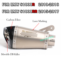 60MM Motorcycle Exhaust Muffler With Akrapovic DB Killer Laser Marking Slip on For BMW S1000R 2010 2016 S1000RR 2010 2014