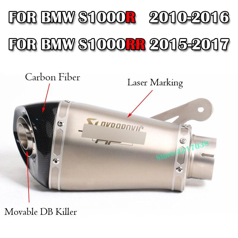 Silencieux d'échappement de moto de 60 MM avec Akrapovic DB tueur Laser marquage sans lacet pour BMW S1000R 2010-2016 S1000RR 2010-2014
