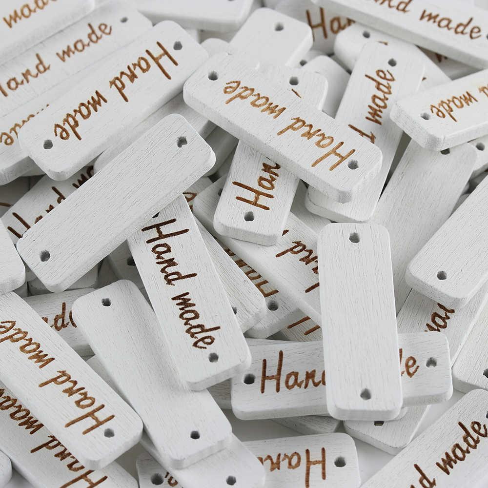 """100 개/갑 팩 """"수제"""" 편지 나무 단추 조각 된 2 구멍 바느질 액세서리 scrapbooking diy 공예"""