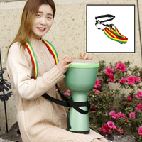 LADE 8 inch ABS African Drum Djembe Bongo Hand Drum with 1 pair Egg Shakers & Shoulder Cross Strap 4 Colors Available