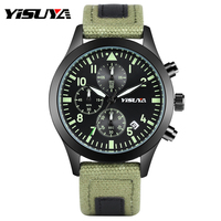 YISUYA Men Watches Military Chronograph Luminous Quartz Watch Fashion Army Canvas Band Strap Auto Date Casual