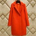 2017 Outono Inverno Nova moda Casaco de Lã Para As Mulheres Double Breasted Engrossar Quente Exteriores Long Slim Coats Senhoras XL063
