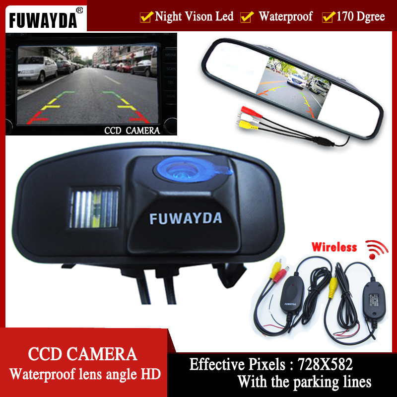 FUWAYDA wireless HD videoRear View Reverse color parking CCD Car Camera with <font><b>4.3</b></font> <font><b>Inch</b></font> <font><b>LCD</b></font> Monitor For Honda CRV Odyddey Fit Jazz image