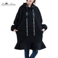 BelineRosa 2017 das Mulheres Vestidos de Inverno Pure Color Casual Ruffled Hem Tamanhos Grandes Roupas de Veludo Solto Plus Size Vestido YK000031
