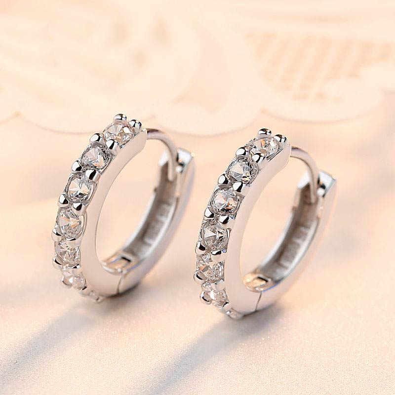 LNRRABC Hot Trendy Charming Women Round Loop Earrings Crystal Cooper Women Lady Girl Paved Big Hoop Earrings Popular Jewery