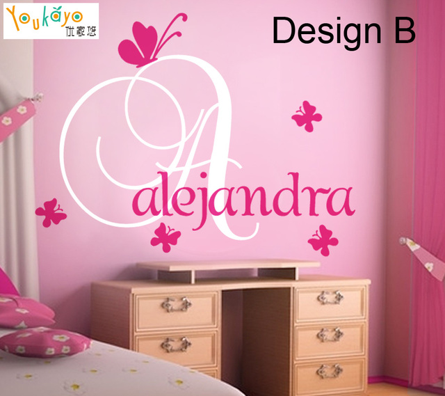 Personalized Vinyl Decal  Name Vinyl Initial With Butterfly  Gir Wall Decals 2  Design
