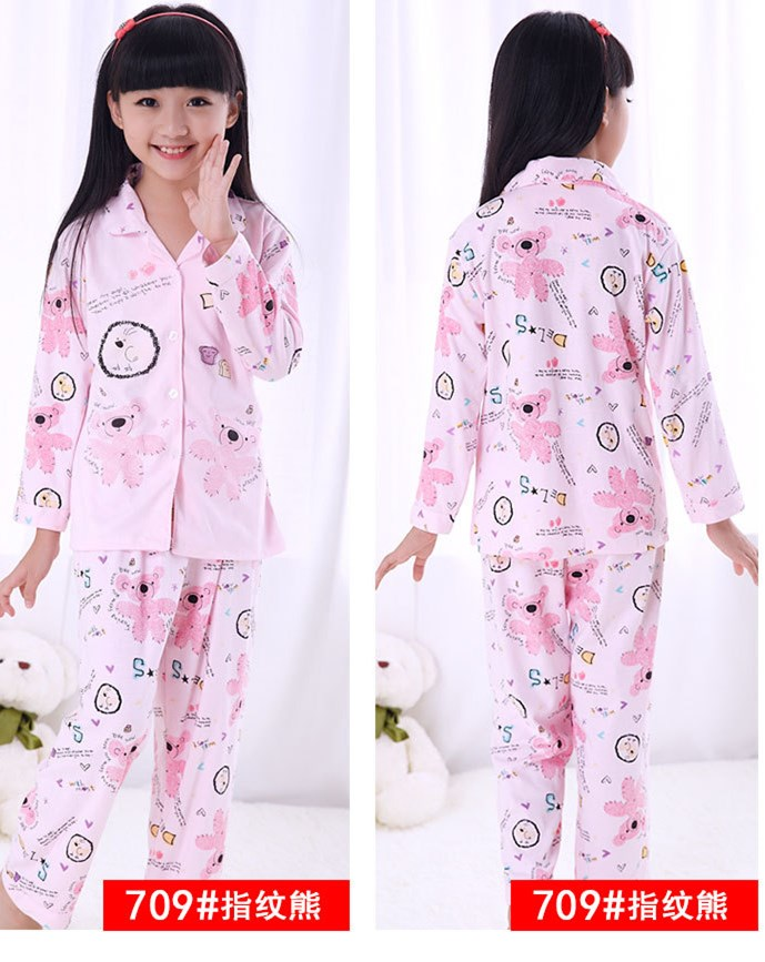 Kid fall children's pajamas, 100% pure cotton, big girl, Cartoon Bear, open chest, long sleeve, casual suit image