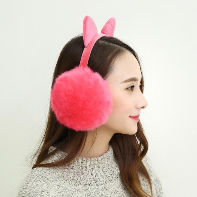 Women Earmuff Winter Autumn Warm Faux Fur Ear Muffs Cute Cat Ear Earflap Rabbit Fur For Girls Ear Flap Ladies Plush Ear Muffs