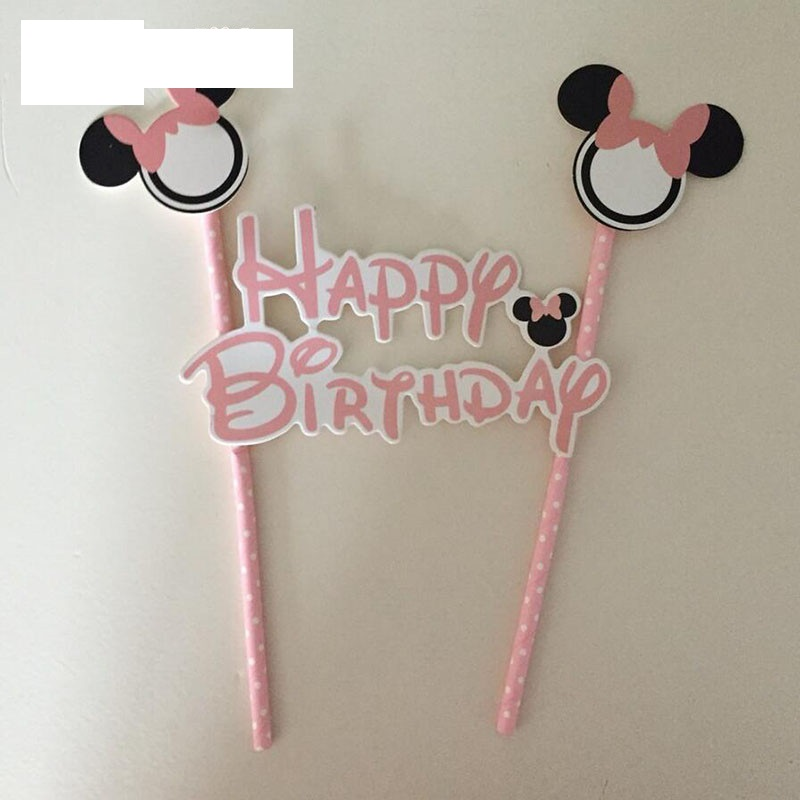1pcs pink Minnie mouse cake topper for kids happy birthday party decoration 1st birthday baby shower decoration cake decoration