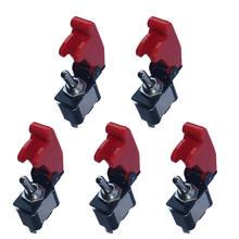 Interruptor de palanca basculante de cubierta roja para coche, camión, barco, profesional, oferta de accesorios automotrices, 12V, 20A, 2 pines, support, 5 uds.