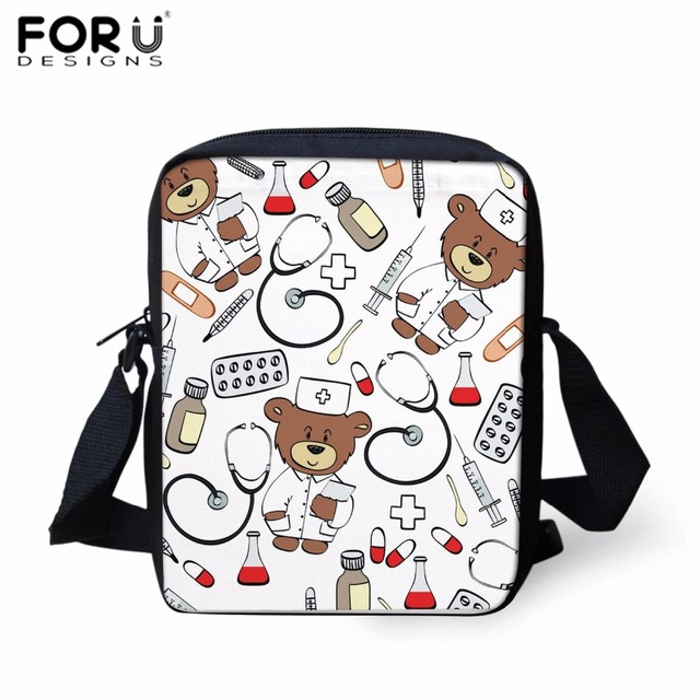 e40b0e5953a4 FORUDESIGNS Women Messenger Bags Cute Cartoon Nurse Bear Print Crossbody Bag  for Kids Boys Teens Girls Shoulder Bag Beach Bolsa