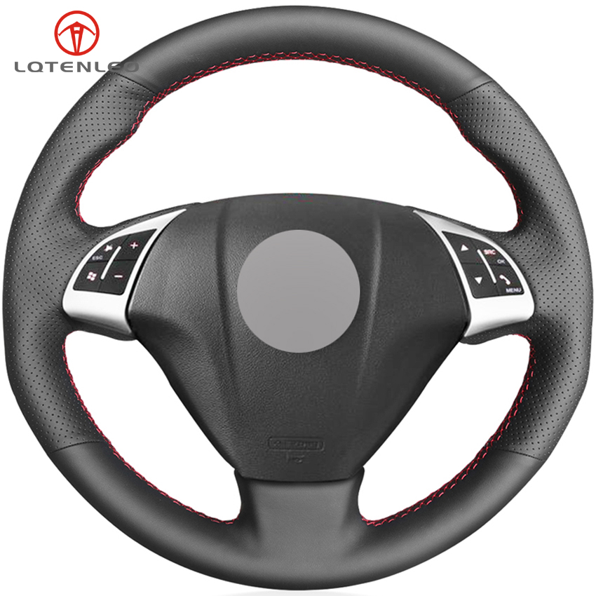 LQTENLEO Black Genuine Leather Car Steering Wheel Cover For Fiat Punto Bravo Linea 2007 2019 Qubo