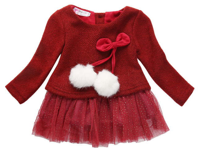 7594d1205c4a New Toddler Baby Girls Tulle Dress Cute Long Sleeve Knitted Bow red ...