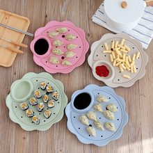 1pc Dumplings Dish Wheat Straw Fruit Tray Fan Shaped Plate Double Layer Drain Dessert Snack Hold Lid Cheese Container