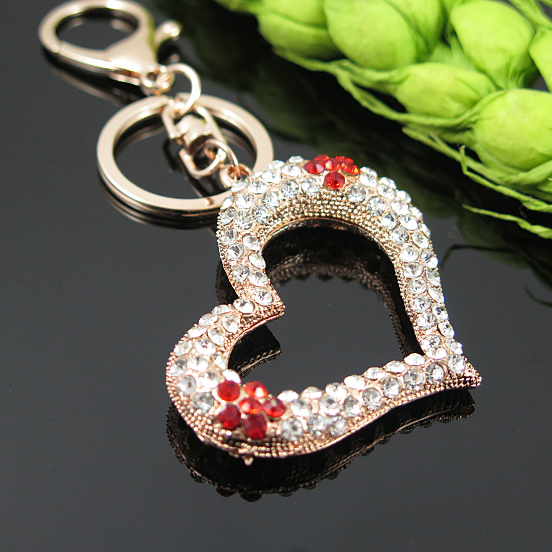 Beautiful Flower Heart-Shaped Top Grade A++++ Rhinestone Key Chain & Holder For Bag Backpack Charms Nice Gift For Friendship