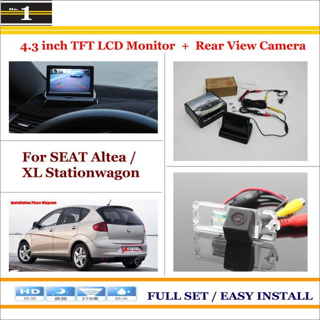 "Para SEAT Altea/XL Stationwagon-Car Inverter Rear Camera + 4.3 ""Monitor LCD TFT = 2 em 1 Sistema De Estacionamento"