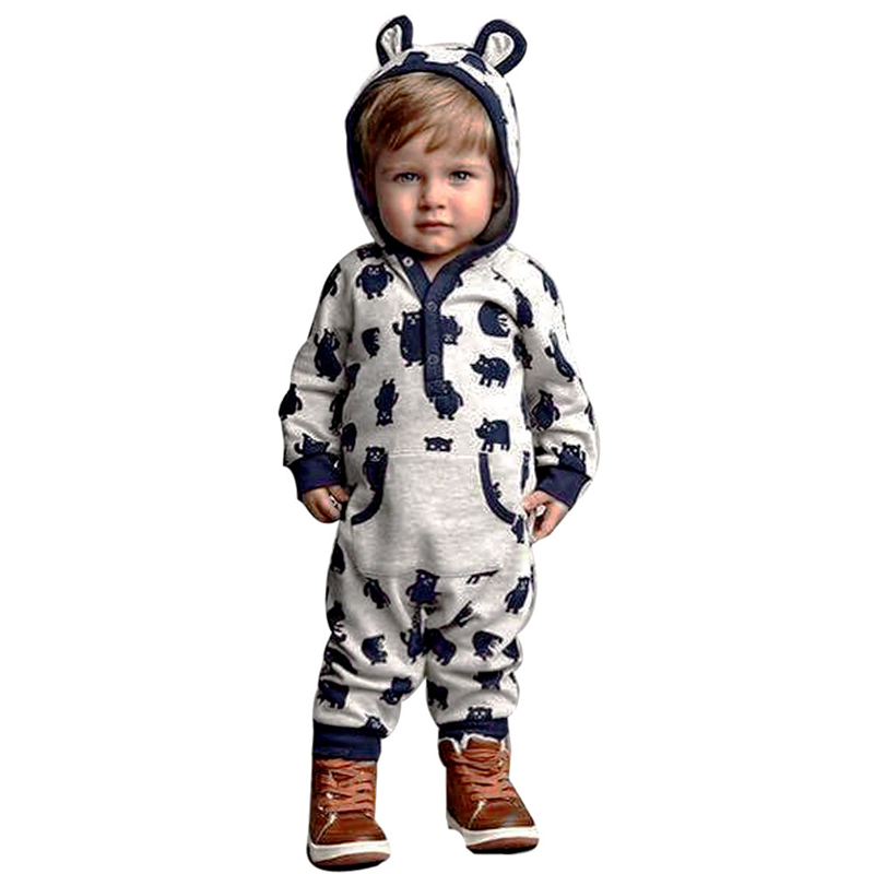 Children's winter clothes for newborns Unisex Baby Cartoon Hoodie Romper Warm costumes Outwear Winter overalls for children
