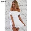 Branco vestido de renda 2017 moda verão mulheres vestidos vintage sweet white dress elegante sexy de slash pescoço magro ocasional praia
