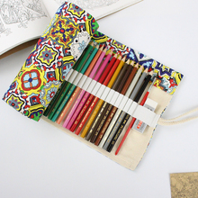 National Style Pencil Case 36/48/72 Holes Portable Canvas Roll Up Pen Wrap Students Stationary Storage Bag Pouch For Painting