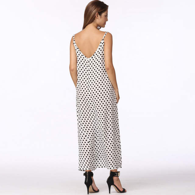 placeholder Anself 2018 Fashion Women s Polka Dots Maxi Dress Long Casual  Summer Beach Chiffon Party Dresses Robe 65299efc3e1f