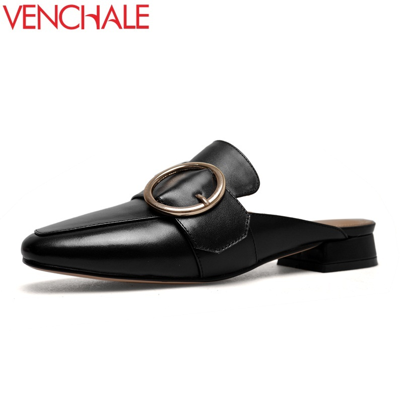 VENCHALE new style cow leather low square heels metal decoration outside square toe fashion casual large size women mules venchale 2018 new med square heel cow